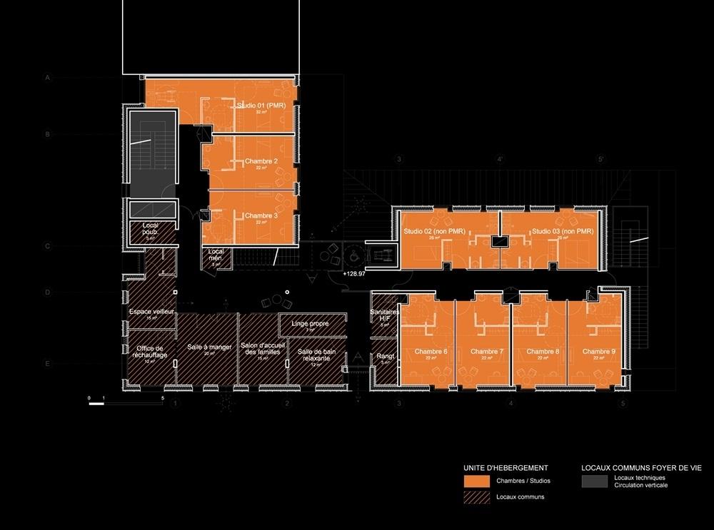 plan étage courant unités de vie