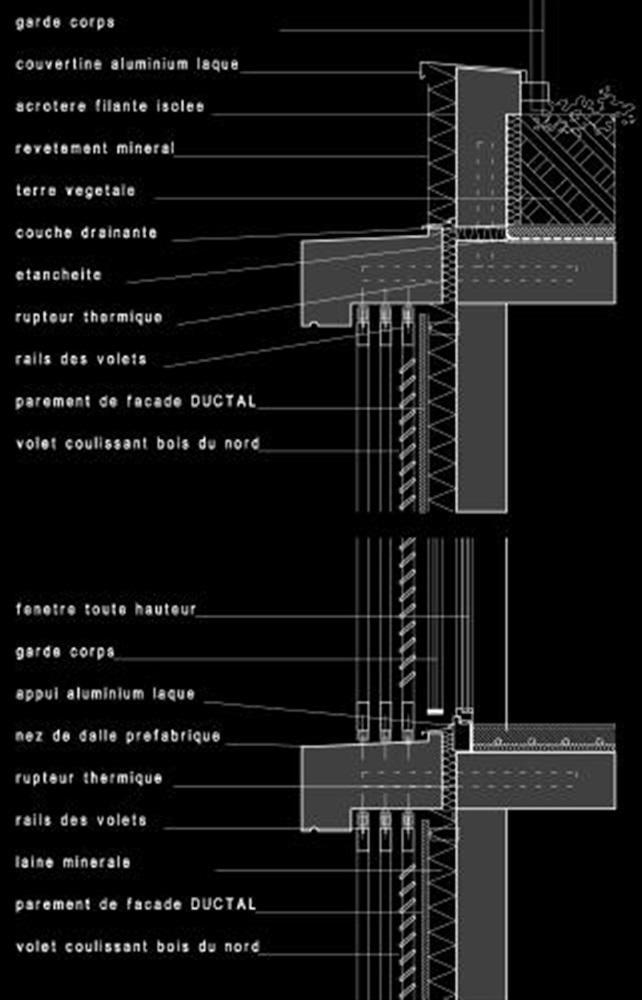 coupes de détail de la façade